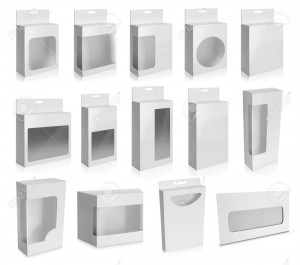 Collection of White Product Package Box With Window isolated over white background.